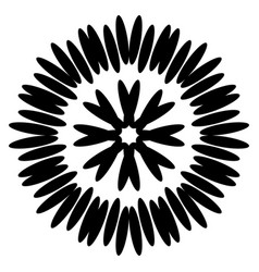 Symmetrical black aster circular pattern vector