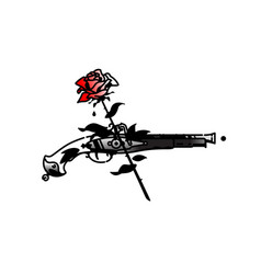 tattoo an old pistol and roses vintage tattoo vector image