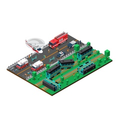 Train Wreck Isometric Design vector