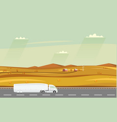truck on the road autumn rural landscape with vector image