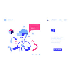 vr landing page boy in virtual reality glasses vector image