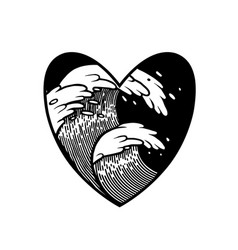 water waves in with heart frame tattoo vector image