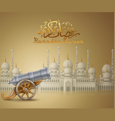 White mosque and cannon vector