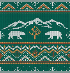 Winter knitted woolen pattern with polar bears vector