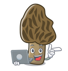 With laptop morel mushroom character cartoon vector