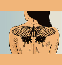Woman with tattoo on back vector