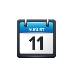 August 11 Calendar icon flat vector image