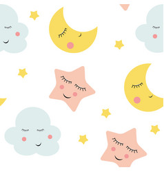 cute clouds star and moons seamless patter vector image vector image