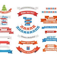 Different retro style christmas ribbons set vector image