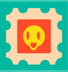 Funny yellow cartoon face with open mouth vector