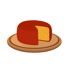 gouda cheese on plate cartoon flat style vector image vector image