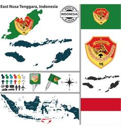 Map of East Nusa Tenggara vector image vector image