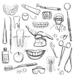 Set of Dentist with different dental equipment vector image