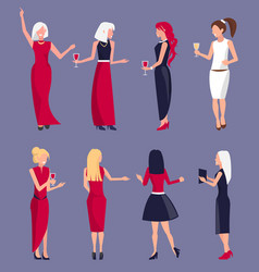 set of women at party purple vector image
