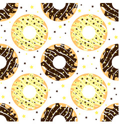 white and dark chocolate donuts vector image