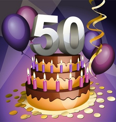 fiftieth birthday vector image vector image