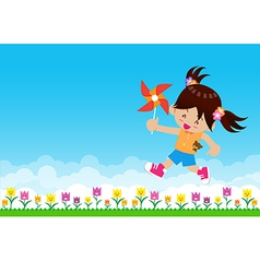Girl and paper wind turbine on Nature background vector image