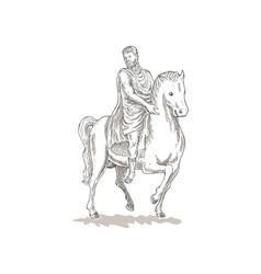 Roman emperor soldier riding horse vector image