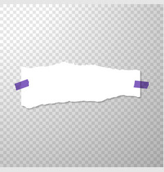 torned off piece of paper with purple stickers vector image vector image