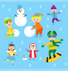 christmas kids playing winter games children vector image vector image