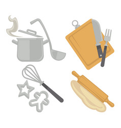 Cooking kitchenware utensils and baking cutlery vector
