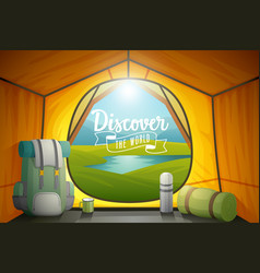 discover the world poster view from inside a tent vector image