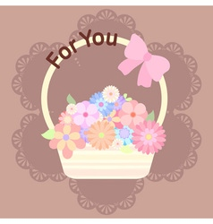 pastel colorful flowers in basket with ribbon and vector image vector image