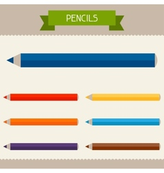 Pencils colored templates for your design in flat vector image vector image