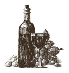 wine bottle logo design template wineglass vector image