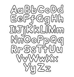 Alphabet bubble contour drawn hands vector image