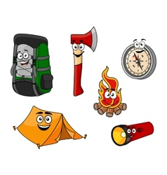 Cartoon camping and travel objects vector