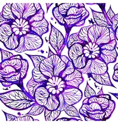 floral ink background with flowers EPS10 vector image