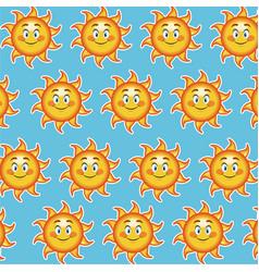 happy funny sun smile wallpaper pattern cartoon vector image vector image