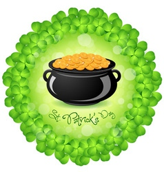 Patricks Day Cauldron with Gold Coins vector image