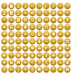 100 auto icons set gold vector image