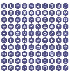 100 binoculars icons hexagon purple vector