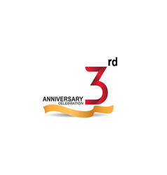 3 anniversary design logotype red color vector
