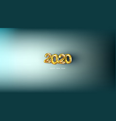 3d happy new 2020 year golden numbers poster vector image