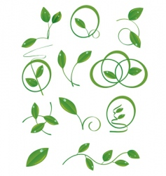 A set of green leaves vector