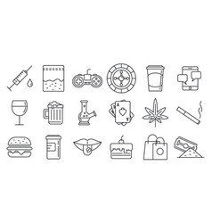 Addiction icons set outline style vector