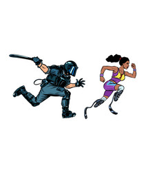African female runner athlete with a disability vector