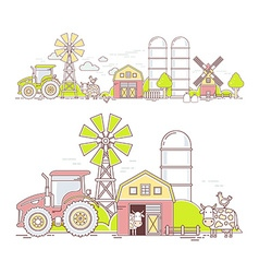 Agribusiness of colorful farm life with nat vector