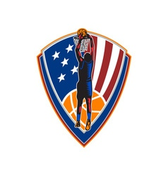 American Basketball Player Dunk Ball Shield Retro vector