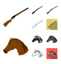 Attributes of the wild west cartoonblackflat vector