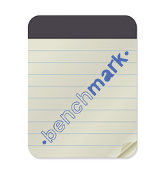 Benchmark lettering on notebook template vector