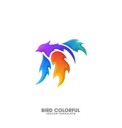 bird fire colorful design template vector image