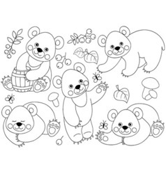 Black And White Bears Set vector image