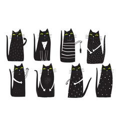 black cats clip art set vector image