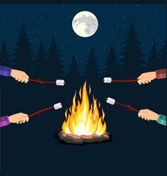 Bonfire with marshmallow stone vector