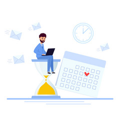 business man sitting on an hourglass and works on vector image